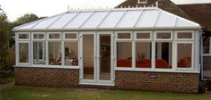 conservatory with fitted upvc sash sliding windows